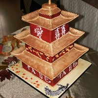 Pagoda   Pagoda roofs are made from gumpaste. Placed, spackled, and painted in gold.