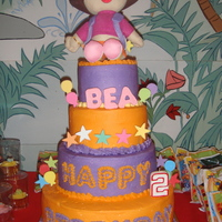 Dora The Explorer Cake iced in buttercream...stuffed toy decor...thanks for looking! :)