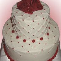 "Burgandy Wine 6 and 10"" - buttercream icing and details - fondant roses on top."