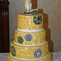 The Kiss cake based on Klimt's painting- all buttercremethanks to Maribelle Cakery for their beautiful cake pictured in the Knot, mine doesn&#...