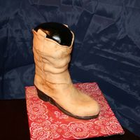 Dusty Old Cowboy Boot covered in tan fondant and dusted with coco. A special thanks to sweetpea for instructions and all the 3D boots posted on CC