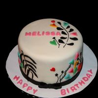 Melissa Cake fondant with fondant and bc decorations based on an evite design