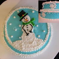 Snowman WASC cake with Raspberry filling and Raspberry buttercream... My kids favorite flavors obviously. :-) Snow flakes made with meringue