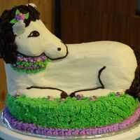 Pretty Horse Horse from the 3d lamb pan. Chocolate cake with vanilla and chocolate butter cream frostings.
