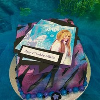 Hannah Montana Cake Hannah Montana cake airbrushed blue and purple finishes with fondant accents