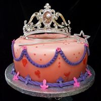Princess Cake Fondant covered princess cake with purchased lighted tiara.