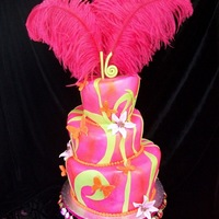 Hot Pink Orange Cake Hot Pink and orange Topsy Turvy with lime green swirls
