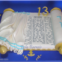 Bar Mitzvah Cake   Chocolate cake, covered with fondant