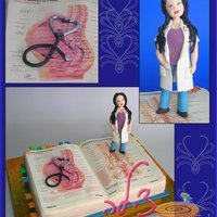 Medical Student Birthday Cake   Gum paste figurine, belgian choc cake covered with rolled fondant