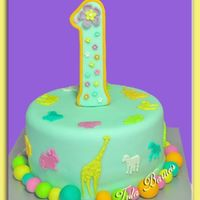 First Birthday Cake   Chocolate cake covered with fondant