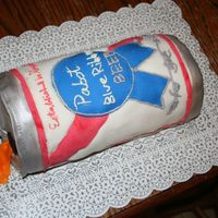 Pabst Blue Ribbon Cake A Groom's cake I decorated for my cousin's wedding.Yellow cake with fondant and buttercream.