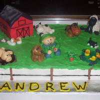 Farm Cake Made for my son's second birthday. Barn out of cake, covered in fondant. All Animals out of fondant, everything else buttercream, and...
