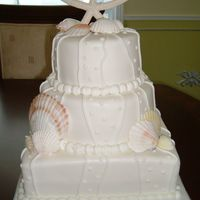 My First Wedding Cake This is my first wedding cake. It's all white cake with lemon buttercream filling. The bride found the picture of the cake in a...