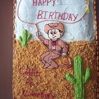 Cowboy Birthday Cake Another cake I did with my friend. The cake is vanilla with ganache and white icing. The bottom half is covered with crushed up grahm...