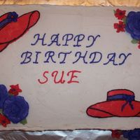 Red Hat Society Cake This was a cake for a 50th Birthday. The birthday girl asked to have a Red Hat themed cake. The cake is 1 layer chocolate, 1 vanilla with...
