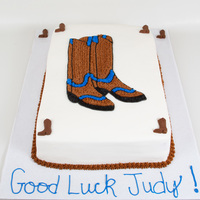 "Cowboy Boots 15""x20"" strawberry cake with sliced strawberries and homemade strawberry glaze filling with vanilla buttercream icing. Made for a..."