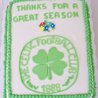 Soccer Club Cake 1 layer yellow cake with vanilla buttercream icing with fondant decorations
