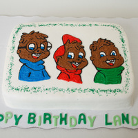 "Chipmunks Birthday Cake 9""x13"" yellow cake covered in buttercream. Fondant letters. Made for a 3 year old's birthday."