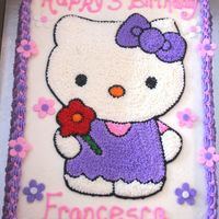 Hello Kitty B/C with Fondant accents. My daughter absolutely wanted Hello Kitty for her Birthday and I loved making this cake as well. TFL!