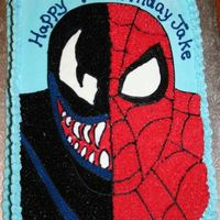Spiderman And Venom This cake was made from a picture given to me from a customer. I used B/C/ icing as well as cookie icing for the eyes and the mouth to give...
