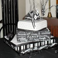 Sandy's 40Th Made this cake for my sister's 40th birthday, she had a black and white theme. All cakes covered in fondant, middle tier had words...