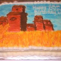 Dad's Birthday Cake Prairie scene painted with crusting cream cheese icing. Carrot cake.My first time painting a cake!