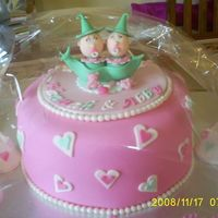 Twins First Birthday Vanilla cake with strawberry filling and mmf. Peas in a pod and a pair of shoes each!