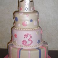 Princess Hadley This was for my daughters good friends daughter. It is a 11, 9, 6 all fondant. I think the idea came from Pink Cake Box's website