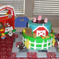 "My Grandson Turns 1 11"" on bottom 8"" on top farm theme. Buttercream w/ fondant accents and fondant animals"