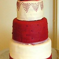 Burgandy And White Round This is my version of a cake I saw on this site. I did not do the original justice, but the bride and groom were very pleased. Any...