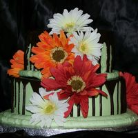 2-Layer Bridal Shower This is a chocolate cake with buttercream drizzled with ganache. The brides colours are sage and chocolate and her favourite flower is the...