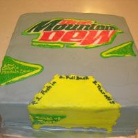 Diet Mountain Dew Cake My husband is a diet mountain dew addict. He requested this for his birthday cake. Frozen Buttercream Transfer and BC icing