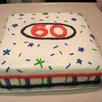 60Th Birthday All buttercream. Colors taken from a napkin to match the decorations for the party.