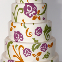 Floral Wedding Cake I thought why not some more colors on a wedding cake : )