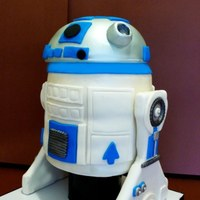 R2D2 Cake  I made this R2D2 cake with the 3D cake recipe from this website. It was really perfect for that kind of cake. I covered it with MMF....