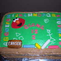 Chalkboard Elmo   Made kit for a friend! Chocolate mousse cake!Fondant figurines.