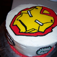 Ironman Made this for a friend, Ironman face in fondant and outlined with frosting!