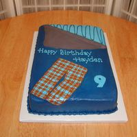 Sleeping Bag Cake was made to look like little boy's sleeping bag and pj's. 1/4 sheet vanilla, BC, with FBCT pj's. TFL