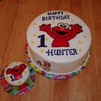 "Elmo 10"" & muffin size cupcake are chocolate cake with bc frosting, elmo, abc & 123 are FBCT's."
