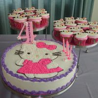 "Hello Kitty This was made for my 4 yr old granddaughter's birthday, she loves hello kitty. Set on 3 Tier Party Stand is a 12"" single layer &..."