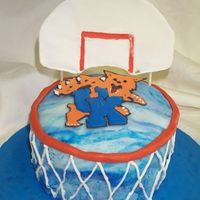 "Uk Basketball Sec Playoff Cake I made this cake at the request of my husband who is a UK alum and a big sports fan. I tried to shape 3 6"" cakes into the 'funnel..."