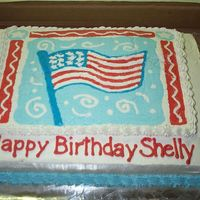 Fourth Of July Birthday Cake My first FBCT cake! The transfer cracked when I put it on the cake, but with some support from my DH and a dry paintbrush, I was able to...