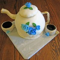 Teapot Birthday Cake Teapot Cake I made for my best friends birthday. This was my first attempt at a teapot. It is supposed to look like her china pattern. She...
