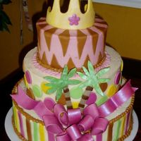 3 Tier Baby Jungle Queen Shower Cake  Made this cake for my friend's daughter's baby shower... it was two weeks after mine and I was in labor and dilated 3cm the...