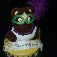Martis Gras Bear This was for a baby shower. Instead of a King Cake I used the 3d bear pan and dressed him Marti Gras attire. Thanks to First Impression...