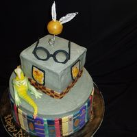 Mr Potters Celebration  This is a buttercream icing with the Patchwork cutters book ends. The glasses frame is gumpaste and the lenes are made with geltin sheets....