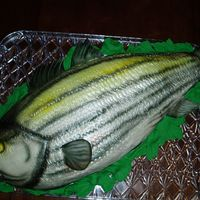 Bass Fish   This is a carved cake that has been textured and airbrushed. Lettuce leaves are done in fondant.