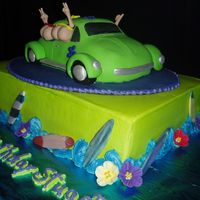 Cruisin Sixteen  This was a 16th birthday for Stuart. He likes to surf and will be getting a car. The 3D car is from the Wilton 3D crusin pan and the other...
