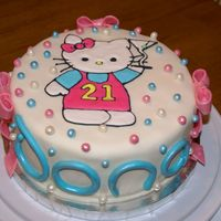 Hello Kitty 21St Birthday This is a white cake with raspbery filling. Hello Kitty is made with color flow. All fondant accents