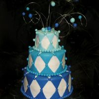 Blue Diamonds Wedding Cake The groom wanted blue. That was all the direction I got. This was last-minute. They decided on Friday to get married on Monday! They'...